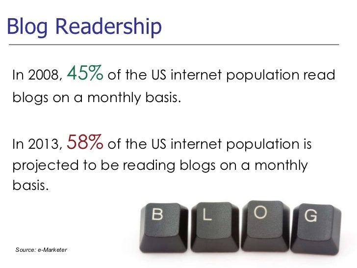 Blog Readership Source: e-Marketer In 2008,  45%  of the US internet population read blogs on a monthly basis. In 2013,  5...
