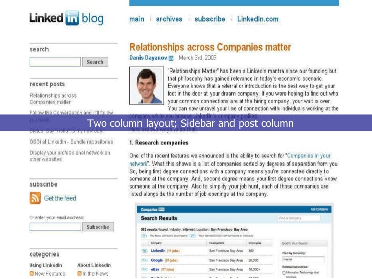 Two column layout; Sidebar and post column