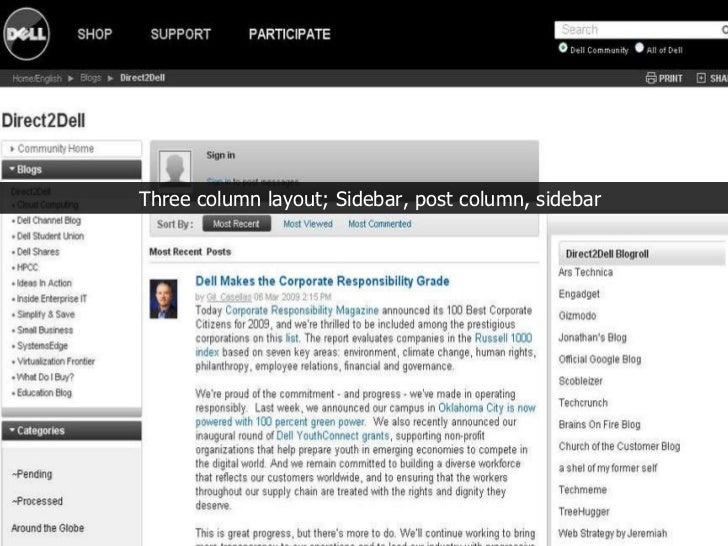 Three column layout; Sidebar, post column, sidebar
