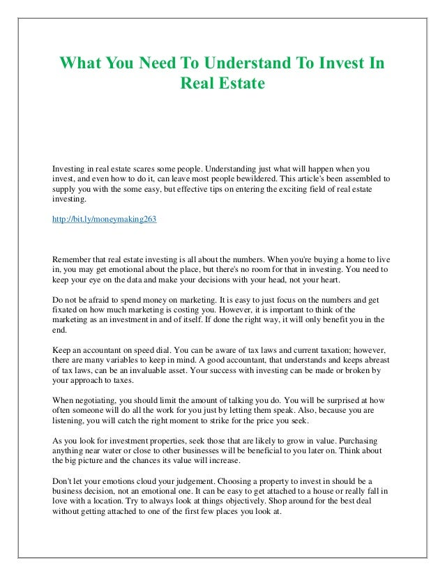 Lets Talk About Real Estate For Moment >> What You Need To Understand To Invest In Real Estate
