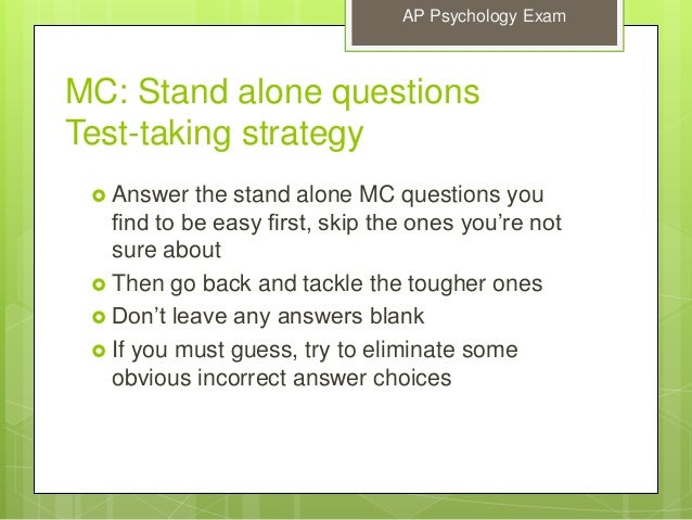 ap psych test essay questions Ap psychology: personality development and theories chapter exam instructions choose your answers to the questions and click 'next' to see the next set of questions.