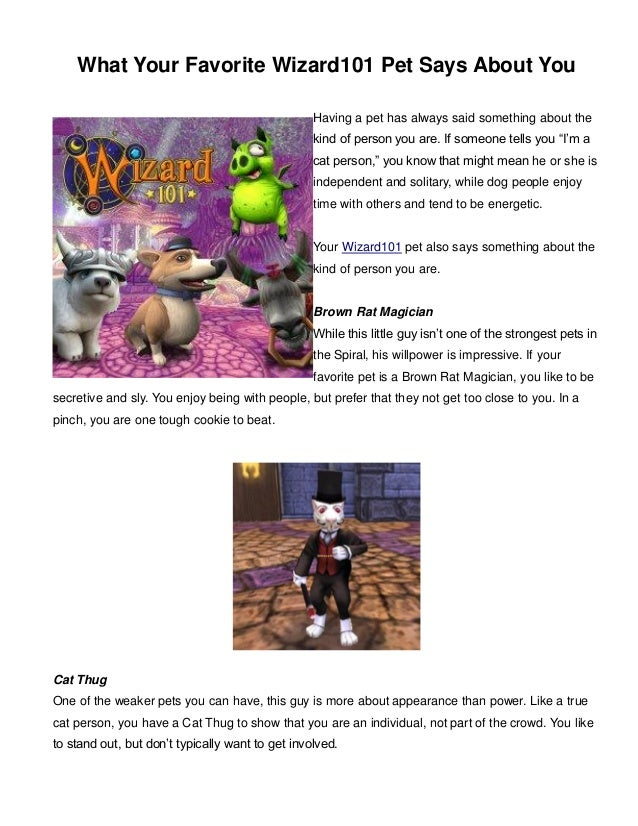 What Your Favorite Wizard101 Pet Says About You