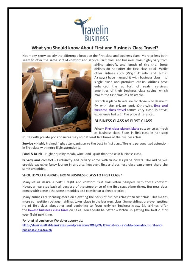 What You Should Know About First And Business Class Travel