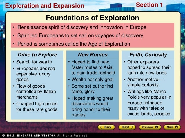 Ch 19 Age Of Exploration Slides: World History Ch. 16 Section 1 Notes