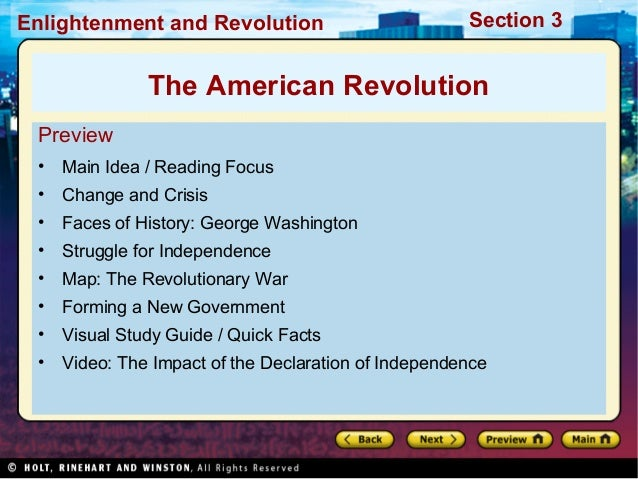 Section 3Enlightenment and Revolution Preview • Main Idea / Reading Focus • Change and Crisis • Faces of History: George W...