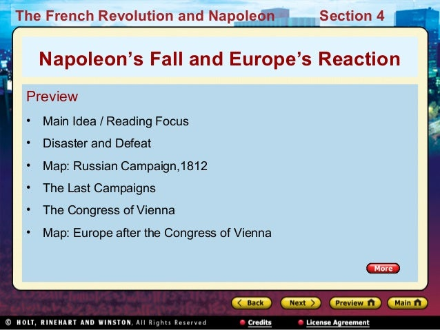 The French Revolution and Napoleon Section 4 Preview • Main Idea / Reading Focus • Disaster and Defeat • Map: Russian Camp...