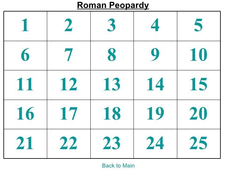 Roman Peopardy1    2        3             4    56    7        8             9    1011   12      13             14   1516  ...