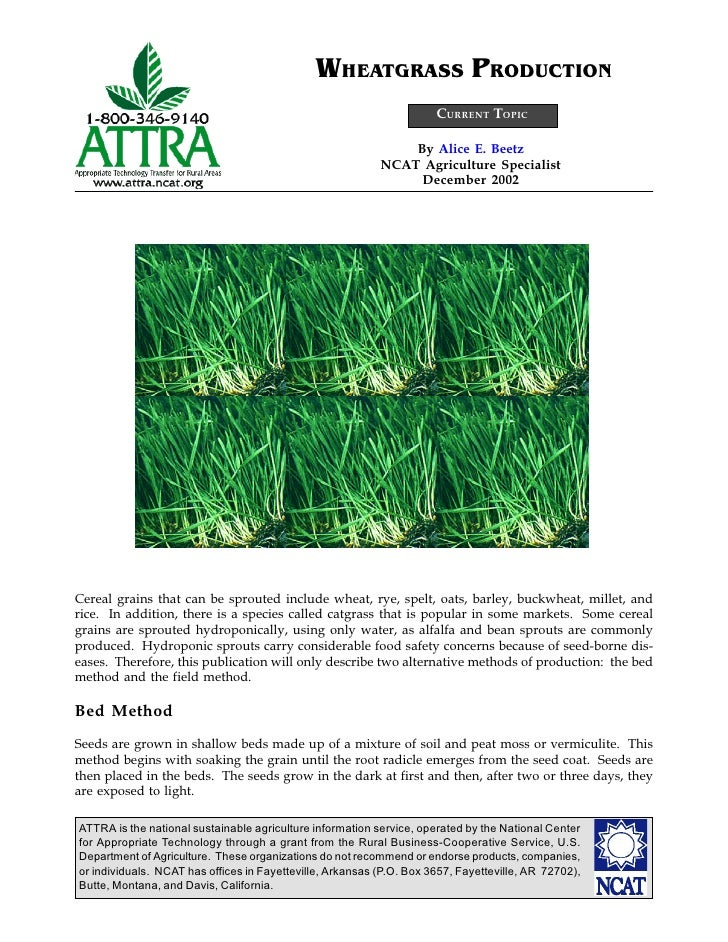 WHEATGRASS PRODUCTION                                                                      CURRENT TOPIC                  ...