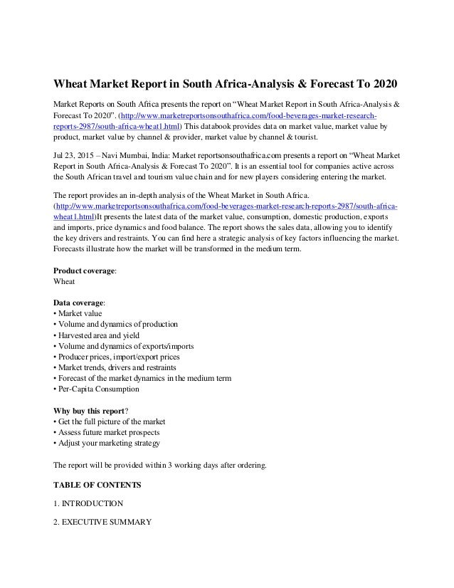 Wheat market report in south africa analysis forecast to 2020