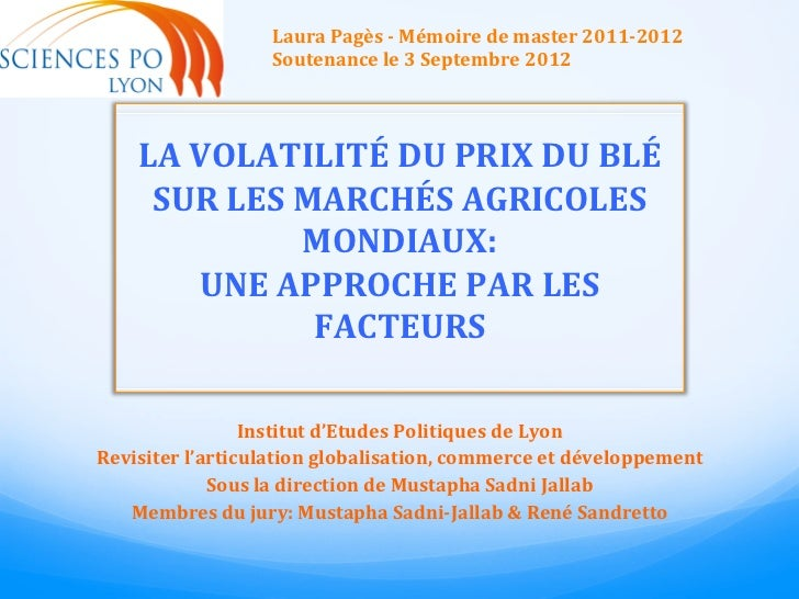 Laura Pagès -‐ Mémoire de master 2011-‐2012                         Soutenance le 3 Septembre 2012...