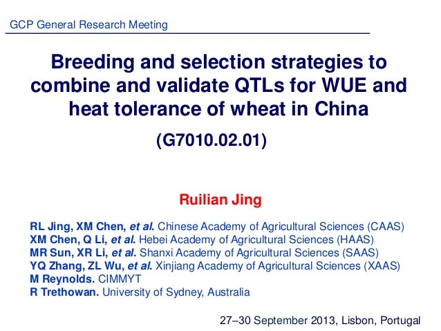 Breeding and selection strategies to combine and validate QTLs for WUE and heat tolerance of wheat in China RL Jing, XM Ch...