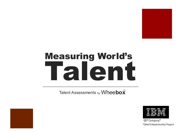 Talent Measuring World's Talent Assessments by Wheebox TM GEP Company* *Global Entrepreneurship Program