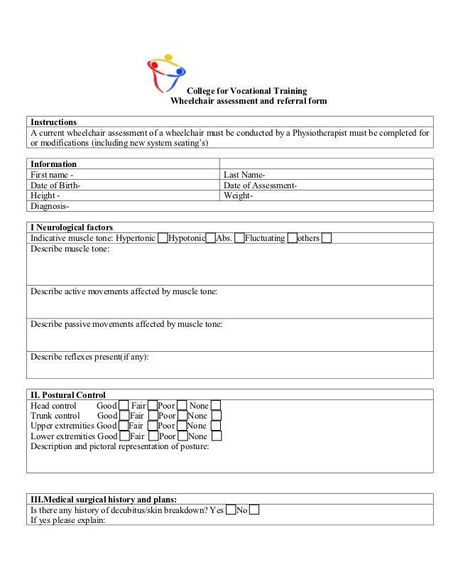 Wheel chair assessment Form