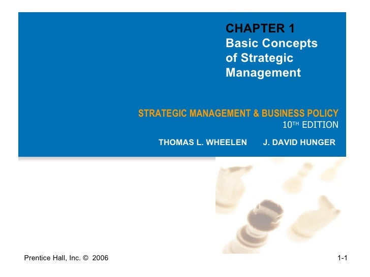 STRATEGIC MANAGEMENT & BUSINESS POLICY 10 TH  EDITION THOMAS L. WHEELEN  J. DAVID HUNGER CHAPTER 1  Basic Concepts  of Str...