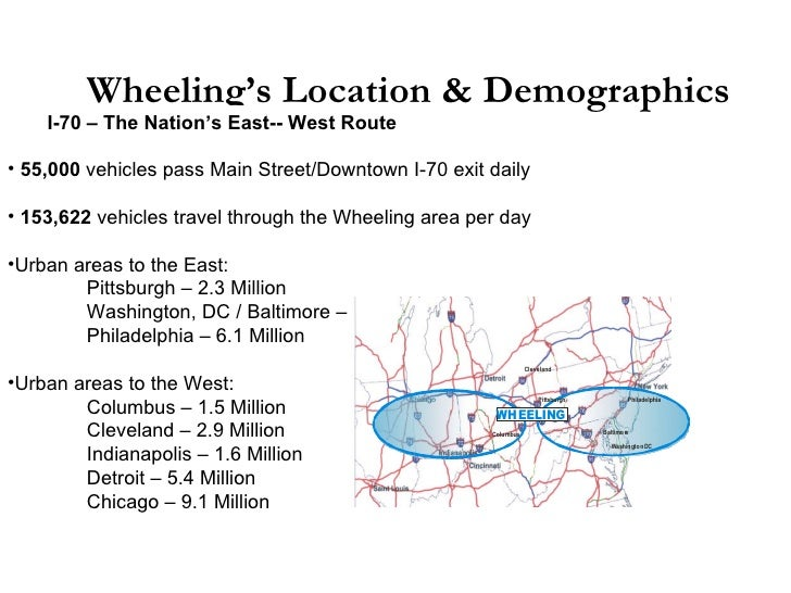 Wheeling's Location & Demographics <ul><ul><li>I-70 – The Nation's East-- West Route </li></ul></ul><ul><li>55,000  vehicl...