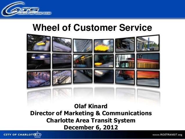 Wheel of Customer Service               Olaf KinardDirector of Marketing & Communications     Charlotte Area Transit Syste...