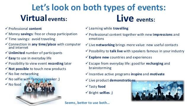 VIRTUAL vs LIVE events through wheel of life Slide 2