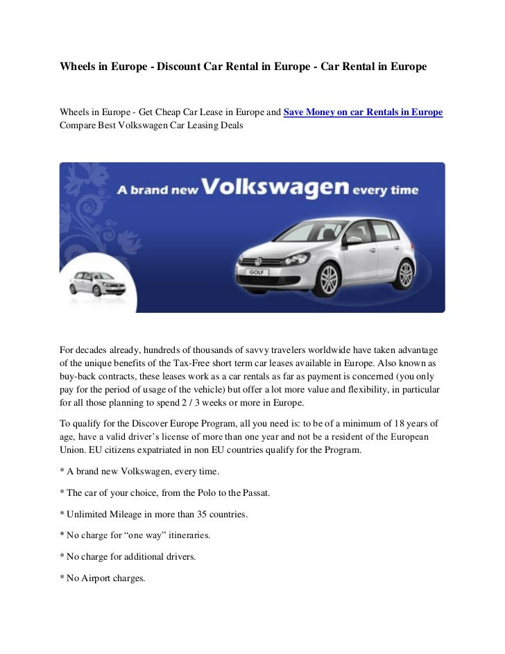 Wheels in Europe - Discount Car Rental in Europe - Car Rental in EuropeWheels in Europe - Get Cheap Car Lease in Europe an...
