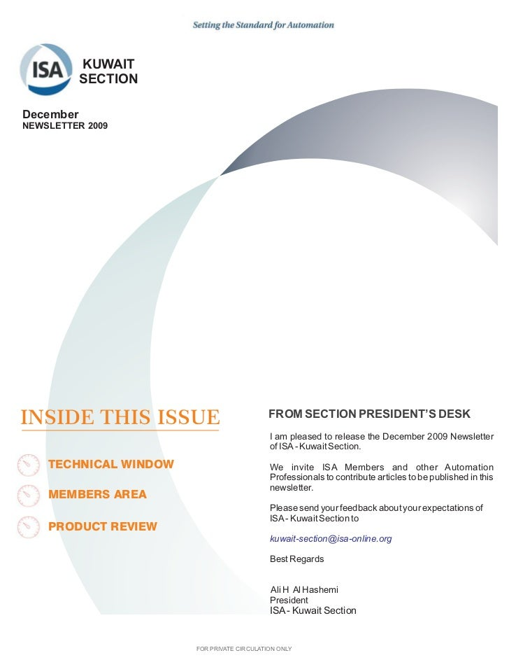 KUWAIT           SECTIONDecemberNEWSLETTER 2009INSIDE THIS ISSUE                           FROM SECTION PRESIDENT'S DESK  ...