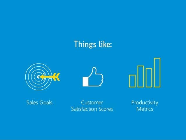 Things like: Sales Goals Customer Satisfaction Scores Productivity Metrics