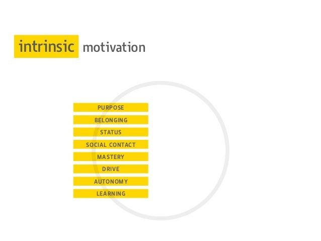 PURPOSE BELONGING STATUS SOCIAL CONTACT MASTERY DRIVE AUTONOMY LEARNING intrinsic motivation