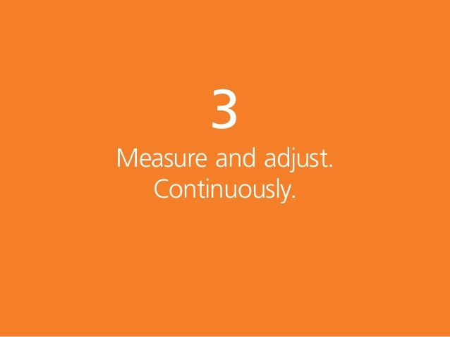 3 Measure and adjust. Continuously.