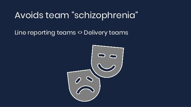 "Avoids team ""schizophrenia"" Line reporting teams <> Delivery teams"