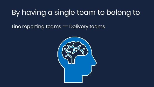 By having a single team to belong to Line reporting teams == Delivery teams