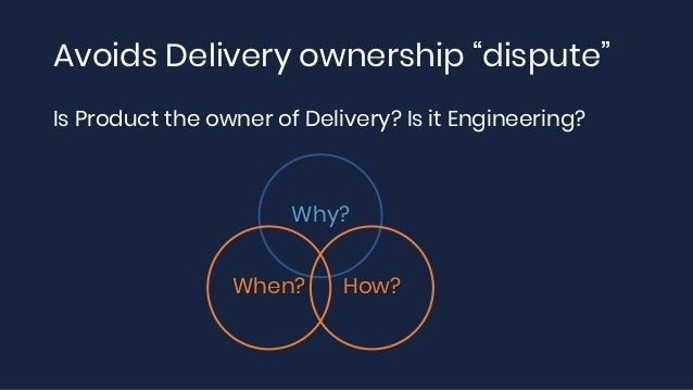 """Avoids Delivery ownership """"dispute"""" Is Product the owner of Delivery? Is it Engineering? Why? How?When?"""