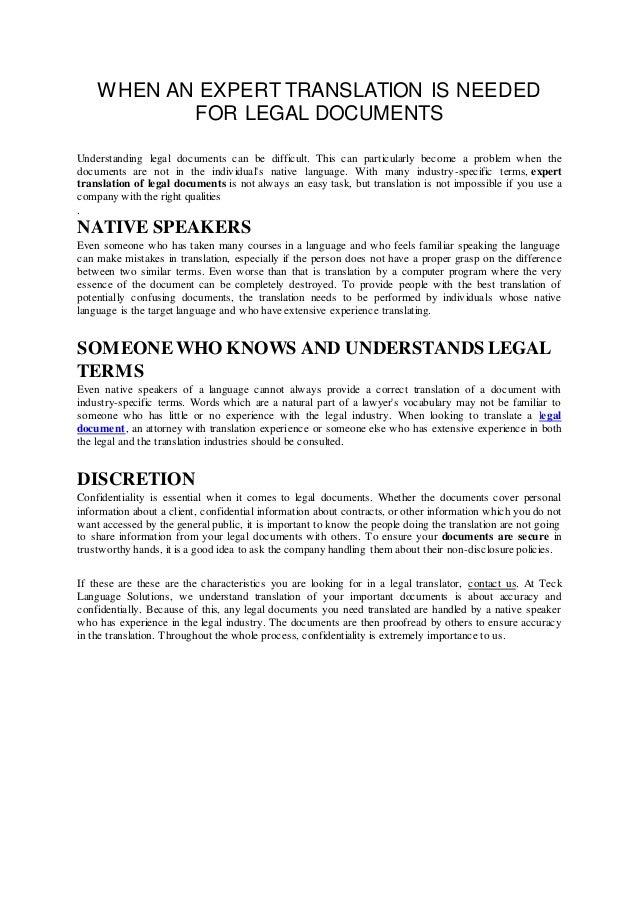 When An Expert Translation Is Needed For Legal Documents - Easy legal documents