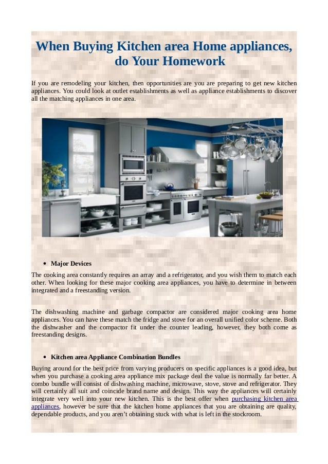 When Buying Kitchen Area Home Appliances Do Your Homework