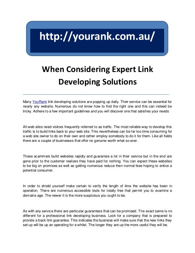 http://yourank.com.au/            When Considering Expert Link               Developing SolutionsMany YouRank link develop...