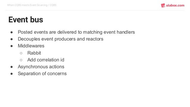When CQRS meets Event Sourcing / CQRS Event bus ● Posted events are delivered to matching event handlers ● Decouples event...