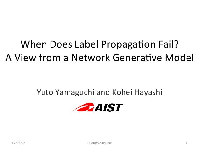 When  Does  Label  Propaga1on  Fail?   A  View  from  a  Network  Genera1ve  Model Yuto  Yamaguch...
