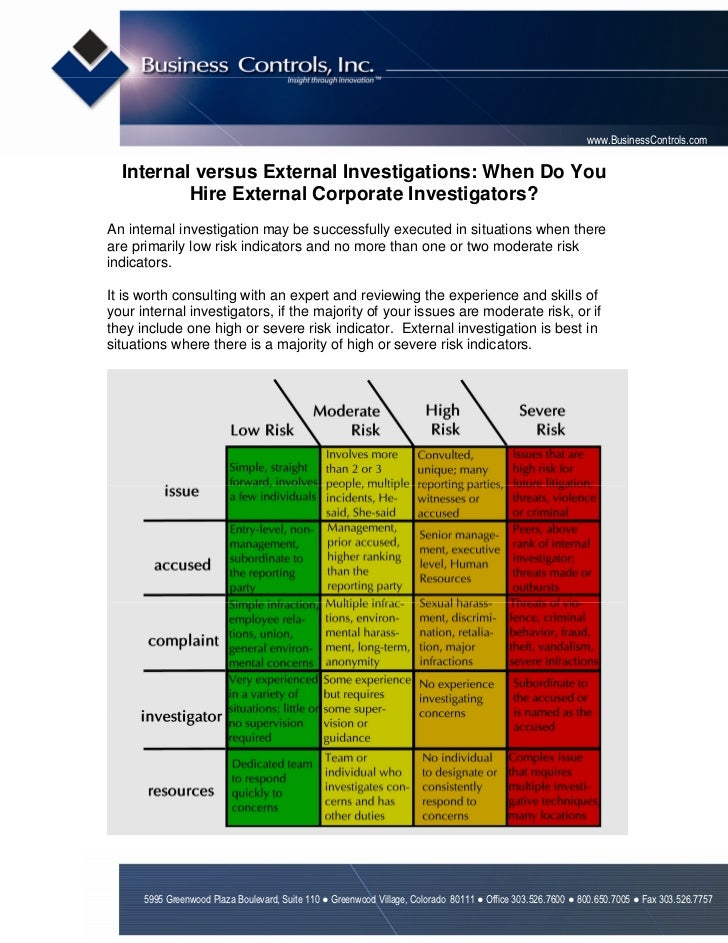 www.BusinessControls.com  Internal versus External Investigations: When Do You          Hire External Corporate Investigat...