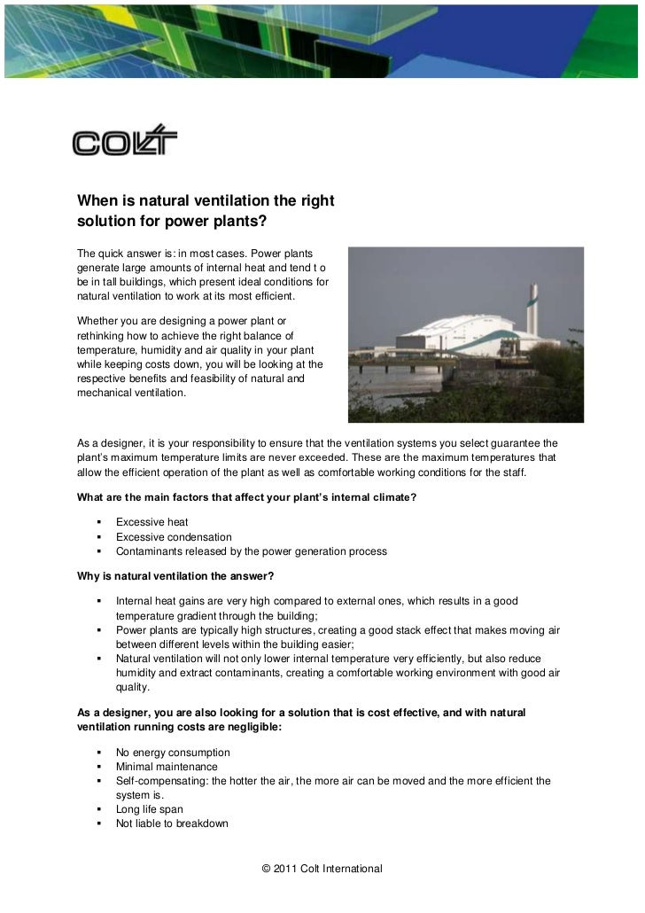 When is natural ventilation the rightsolution for power plants?The quick answer is: in most cases. Power plantsgenerate la...