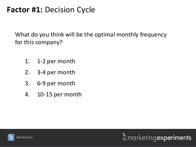 Factor #1: Decision Cycle  What do you think will be the optimal monthly frequency  for this company?       1.      1-2 pe...