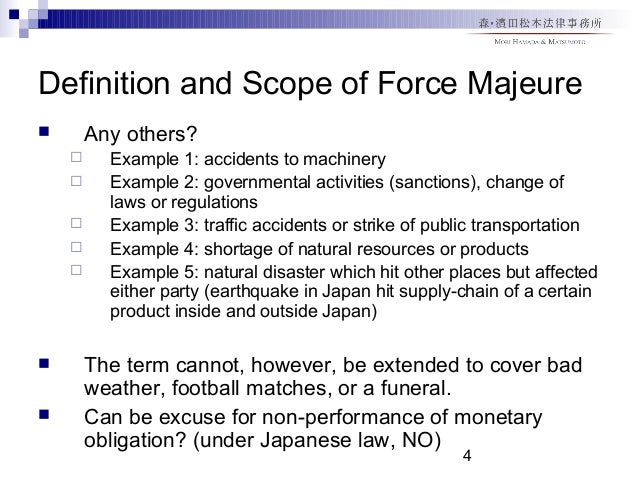 effect of force majeure or act of god essay Force majeure in construction contracts essay to discuss clearly what force majeure is, what are the effects to the an act of god clause or force majeure.