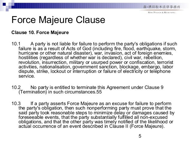Events Considered Force Majeure