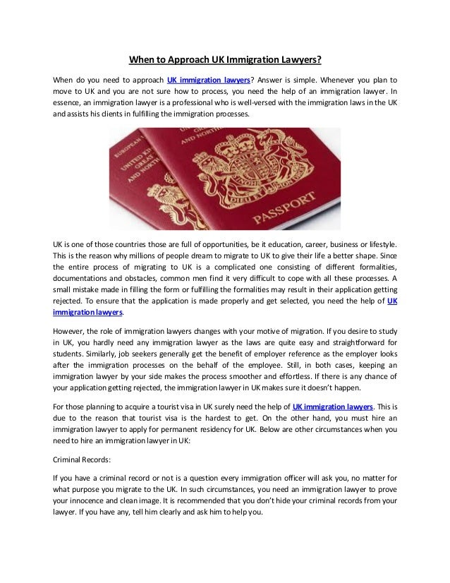 When to approach uk immigration lawyers