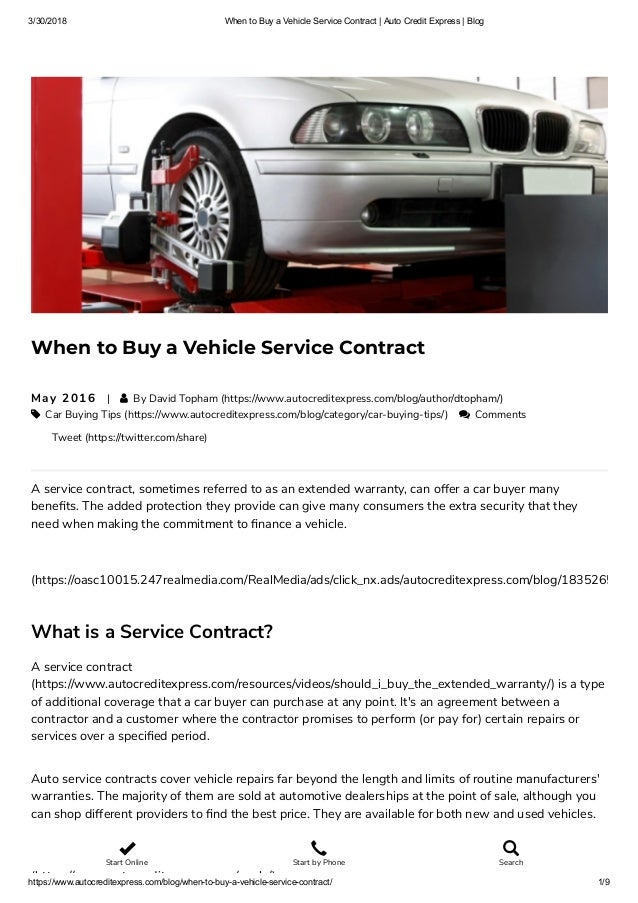 3 30 2018 When To Buy A Vehicle Service Contract