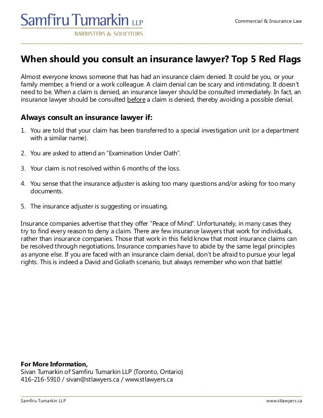 Commercial & Insurance Law When should you consult an insurance lawyer? Top 5 Red Flags Samfiru Tumarkin LLP www.stlawyers...