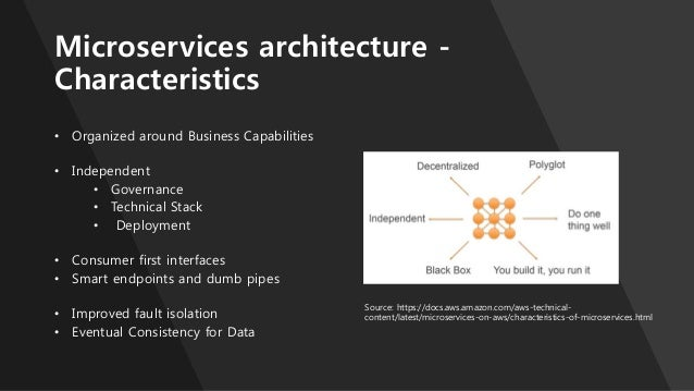 Microservices architecture - Characteristics • Organized around Business Capabilities • Independent • Governance • Technic...