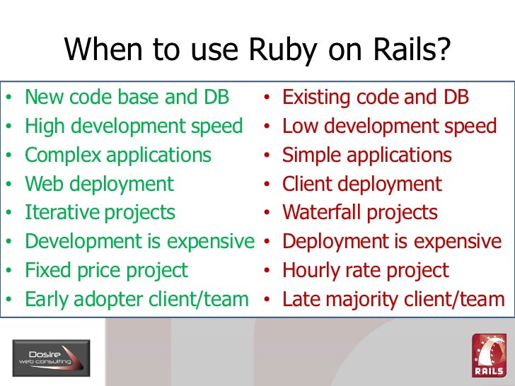 When to use Ruby on Rails?     New code base and DB            Existing code and DB •                               •     ...