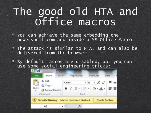 The good old HTA and Office macros You can achieve the same embedding the powershell command inside a MS Office Macro The ...