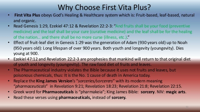 Why Choose First Vita Plus? • First Vita Plus obeys God's Healing & Healthcare system which is: Fruit-based, leaf-based, n...
