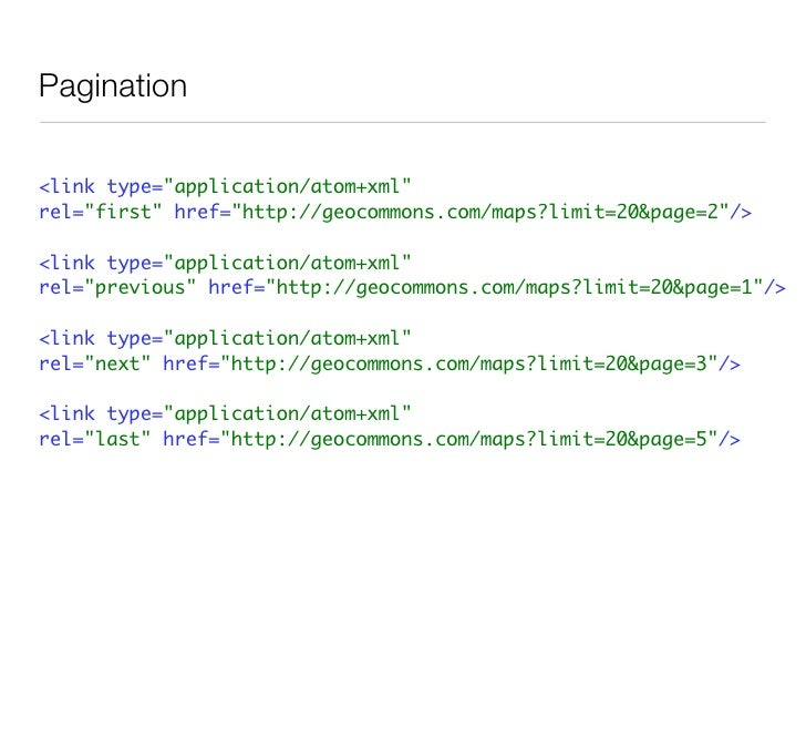 OpenSearch-Geo     http://geocommons.com/search.atom?    keyword={searchTerms}&    location={geo:locationString?}    http:...