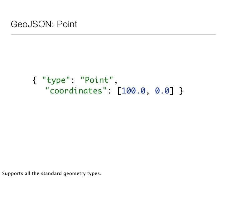 GeoJSON: MultiGeometry          {          quot;typequot;: quot;MultiPointquot;,          quot;coordinatesquot;: [        ...