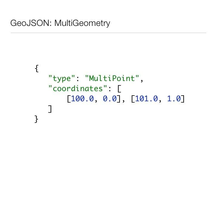 GeoJSON: Atom        { quot;blogquot;: {           quot;postsquot;: [           { quot;typequot;: quot;atom:itemquot;,    ...