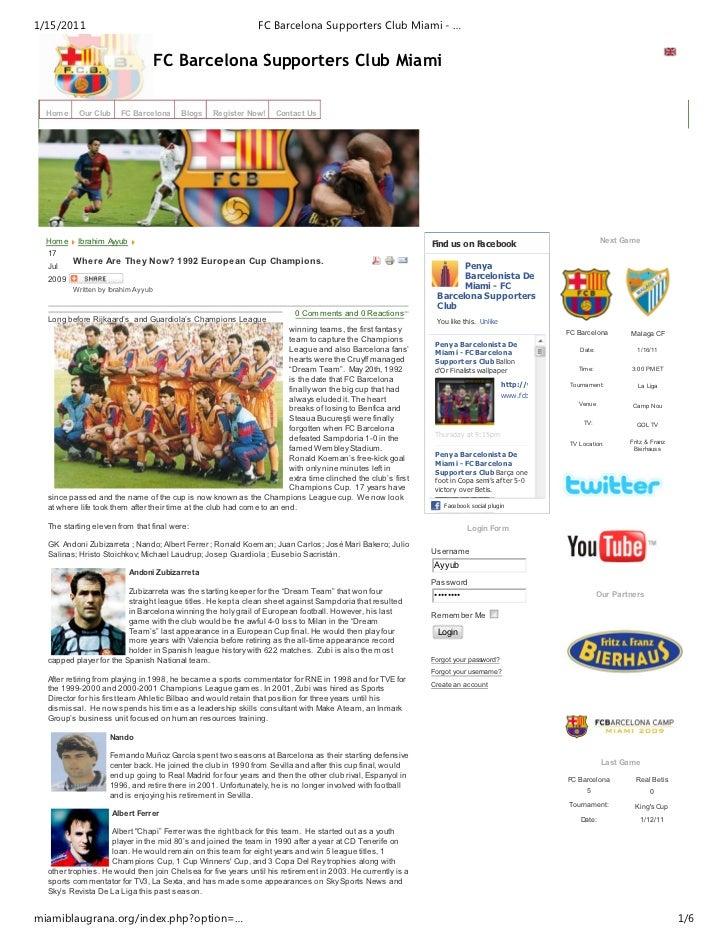 1/15/2011                                                      FC Barcelona Supporters Club Miami - …                     ...